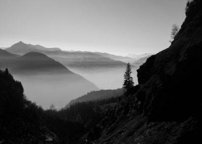 Vallée de l'Arve en noir et blanc